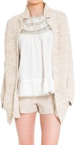 Max Studio Ramie And Cotton Ribbed Boyfriend Cardigan