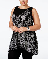 Alfani Plus Size Embroidered Swing Top, Only at Macy's