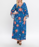 Flying Tomato Navy Floral Bell-Sleeve Maxi Dress - Plus