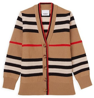 Burberry Little Girl's & Girl's Wool-Cashmere Iconic Checkered Cable Knit Cardigan