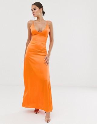Club L London low back cami maxi dress-Orange