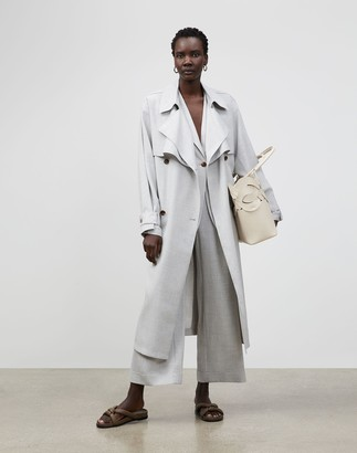 Lafayette 148 New York Blake Trench Coat In Italian Tropical Weave