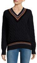 Dries Van Noten V-Neck Merino Wool & Cashmere-Blend Tennis Sweater