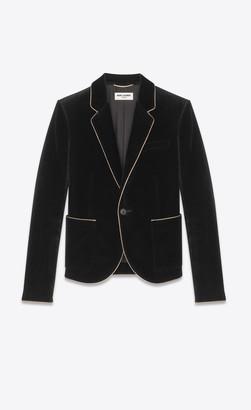 Saint Laurent Blazer Jacket Single-breasted Blazer In Velvet Black 6