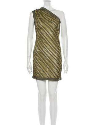 Herve Leger Striped Mini Dress Green
