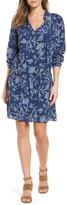 Caslon Ruffle Split Neck Dress (Regular & Petite)