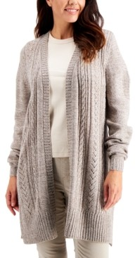 Karen Scott Plus Size Cable-Knit Duster Cardigan, Created for Macy's