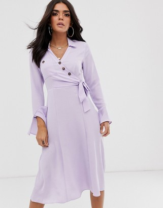 Asos Design DESIGN button through wrap midi shirt dress-Purple