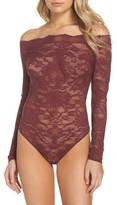 Felina Women's Eliza Off The Shoulder Lace Bodysuit