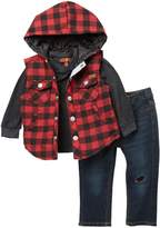 7 For All Mankind Flannel Vest, Top, & Jeans Set (Baby Boys)