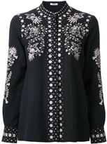 Vilshenko collarless embroidered button-up shirt