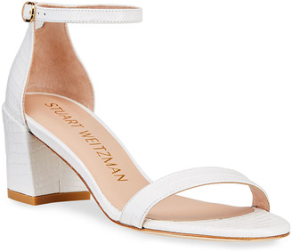 Stuart Weitzman Simple Croco Ankle-Strap Sandals