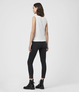 AllSaints Grace Ministud Cropped Mid-Rise Skinny Jeans, Washed Black