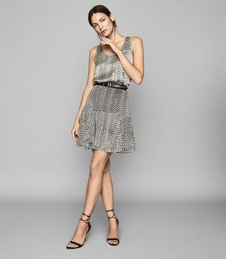 Reiss Margarita - Printed Mini Skirt in Neutral