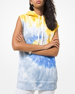 MICHAEL Michael Kors Tie Dyed Sleeveless Cotton Hoodie