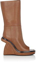 Marni WOMEN'S SCULPTED-WEDGE MID-CALF BOOTS-TAN SIZE 10