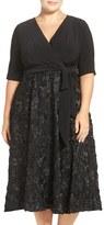 Alex Evenings Plus Size Women's Tea Length Jersey & Rosette Lace Dress