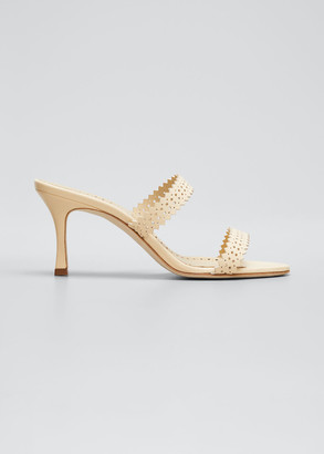 Manolo Blahnik Riesamu Two-Band Perforated Leather Heeled Sandals