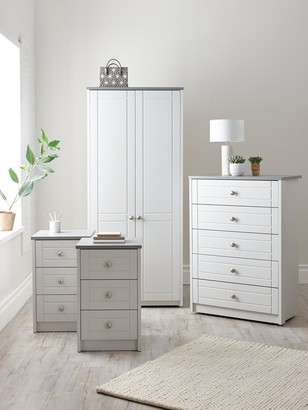 Alderley Ready Assembled 4 Piece Package - 2 Door Wardrobe, Chest of 5 Drawers and 2 Bedside Chests