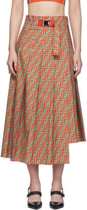 Fendi Orange and Blue Forever Cotton Pleated Skirt