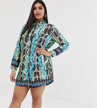 AX Paris Plus Plus snake print shirt dress