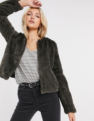 JDY Evelyn cropped faux fur jacket in black olive