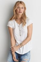 American Eagle Outfitters AE Lace-Up Raglan T-Shirt
