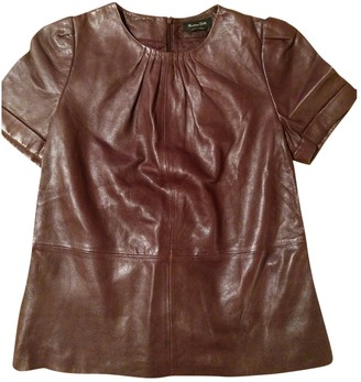 Massimo Dutti Burgundy Leather Top for Women