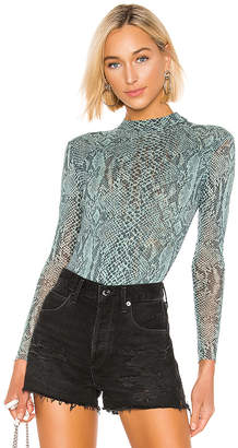 Only Hearts Python Tulle Mock Neck Bodysuit