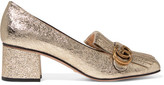 Gucci Fringed Metallic Cracked-leather Pumps - Gold