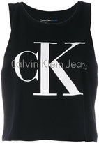 Calvin Klein Jeans logo print tank top - women - Cotton - L