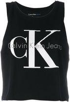 Calvin Klein Jeans logo print tank top - women - Cotton - M