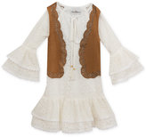 Rare Editions Boho Lace Dress and Vest, Little Girls (4-6X)