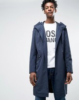 Hugo By Hugo Boss Mengon Parka Water Repellent Fishtail In Navy