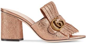 Gucci Logo-Embellished Metallic Mules