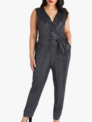 Yumi Curves Sequin Party Jumpsuit, Silver