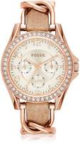 Fossil Riley Rose Gold Tone Stainless Steel Case and Nude Leather Strap Women's Watch
