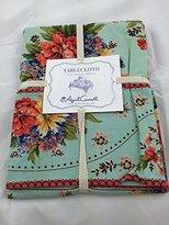 """April Cornell Spring Summer Daisy Tablecloth 60"""" x 84"""" Cotton Yellow Pink Green Floral Easter"""