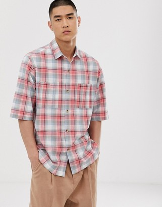Asos Design DESIGN oversized check shirt in pink and gray with chest pockets