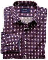 Charles Tyrwhitt Classic Fit Blue and Orange Spot Print Cotton Dress Shirt Size Medium