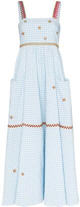 Mira Mikati Embroidered Gingham Maxi Dress