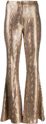 In The Mood For Love Snakeskin Sprint Flared Trousers