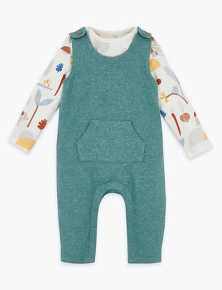 Marks and Spencer 2pc Patterned Dungaree Outfit (7lbs-12 Mths)