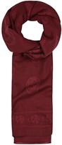 Alexander Mcqueen Red Skull Jacquard Wool Blend Scarf