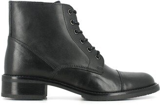 Jonak Tess Leather Ankle Boots with Laces and Block Heel