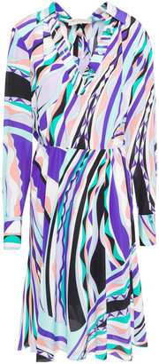 Emilio Pucci Pleated Printed Silk Crepe De Chine Dress
