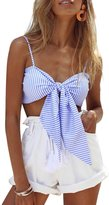 Simplee Apparel Women's Straps Bow Padded Striped Shirt Bustier Bikini Beach Party