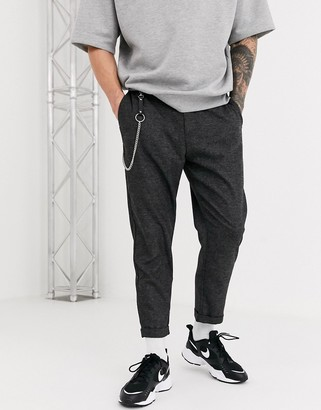 Bershka carrot fit trousers with chain in dark grey marl