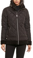 Lauren Ralph Lauren Women's Faux Shearling Trim Quilted Bomber Jacket