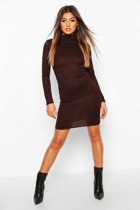boohoo Rib Knit Roll Neck Long Sleeve Mini Dress